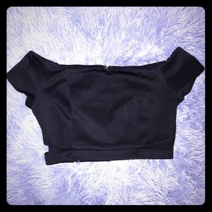 💟🆕💟 Forever 21 Black Knit Off Shoulder Crop Top